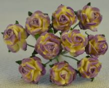 1 cm LILAC VIOLET IVORY Mulberry Paper Roses
